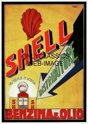 1926 Shell Gas And Oil Advertising 8.5x11 Poster Art Graphics Globe Pump Benzina