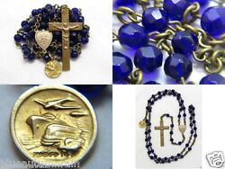 Anddagger Htf Antique Marked 14k Yellow Gold Medal Charm And Cobalt Blue Rosary Necklace Anddagger