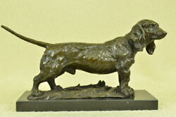 Hush Puppy Basset Hound Scent Dog Breeder Bronze Marble Base Sculpture Tribute