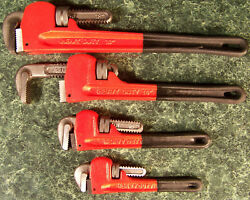 4pc Heavy Duty Pipe Wrench Set With Rubber Grips 4 Sizes Big Wr Monkey Steel