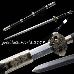 High Quality Chinese Longquan Sword Pattern Steel White Copper Fitting Ebony