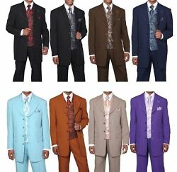Men's 4 Button High Fashion Suit With Matching Vest, Tie And Handkerchief 6903