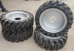 4- Tires With Wheels Solid 33x12-20 / 12-16.5 Skid-steer Loader Tire 331220