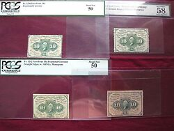 Complete 10¢ 1st Series Set Of 4 Fractional Currency Pmgandpcgs Graded Au58,au50