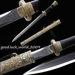 Top Boutique Chinese Tibet Sword Pattern Steel Full Copper Fitting Sheath Sharp
