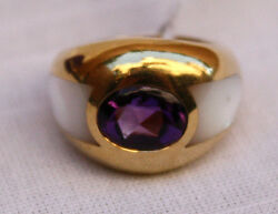MAUBOUSSIAN 18K MOTHER OF PEARL & AMETHYST RING SIZE 6 BRAND NEW BAG & BOX