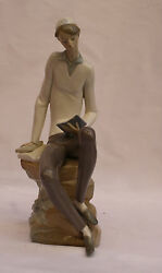 Magnificent Hand Painted Brand New Porcelain Lladro Boy Studying Torah