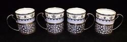 Aynsley China, 1925-1934, Set Of 4 Sterling Silver Holders And Demitasse Cup Set