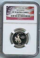 2007 S Wyoming State Silver Quarter Ngc Pf70 Ucam 25c Graded Certified Coin C30