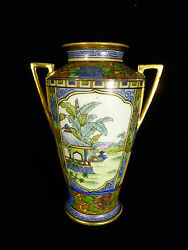Rare Signed Nippon Hand Painted And Enameled Scenic Handled Vase - Circa 1905