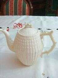 Coffee Pot And Lid In Limpet Yellow Belleek Pottery Ireland 8 Tall [a12]