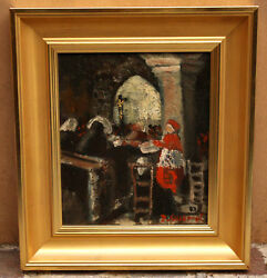 Magnificent Oil On Board Painting Of Cardinal In Church , Signed P.gilleran