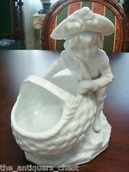 Antique Gorgeous German Centerpiece/planter, Unmarked, Boy And Girl, 8 1/2[a7]