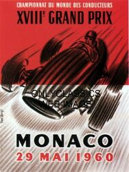 1960 Monaco Grand Prix Formula One Auto Racing Poster Awesome Speed Art Graphics