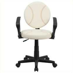 Flash Furniture Baseball Task Office Chair With Arms In Cream