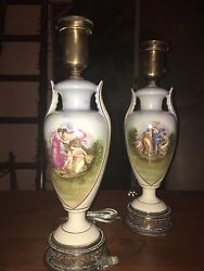 Two Vintage Circa 1930s Hand-painted, Ceramic And Brass Lamps