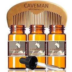 Hand Crafted Caveman® 3 Scent Virgin Beard Oil beard conditioner FREE Comb amp; Bag