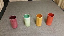 Set Of 4 Nandc Vintage Multi-colored Solid Aluminum Drinking Cups Tumblers