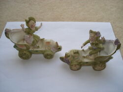 Scarce C1904 Vintage Pair Of Early Motor Car Bisque China Figurines