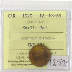 Canada 1920 1 One Cent Ms-65 Small Red Iccs Certified Xne 921