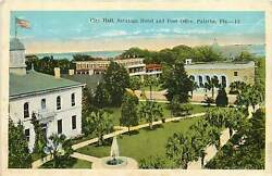 Florida FL Palatka City Hall Saratoga Hotel & Post Office 1920's Postcard