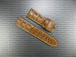 24mm Brown Gator Hornback Tang Buckle Strap Leather Watch Band Pam