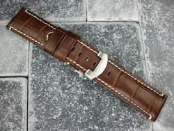 New 24mm Xl Leather Strap And Deployment Buckle Set Extra Large Size Pam Brown