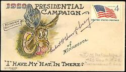 Hubert Humphrey Signed H.p. 1960 Presidential Campaign Cvr By Mcintyre Bs8868