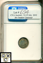 1909 Canada 5 Cents Round Leaves Ngc Ms-66