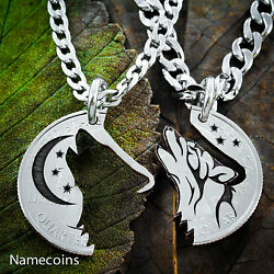 Howling Tribal Wolf With Moon Interlocking Necklaces Etched And Handcut Jewelry