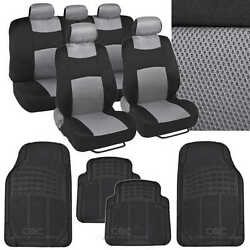 4 Pc Plush Solid Black Rubber - 9 Pc Sporty Spacer Mesh Gray Cloth Seat Cover