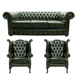 Chesterfield 3 Seater+wing+wing Chairs Antique Green Leather Sofa Settee Suite