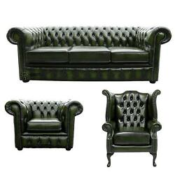 Chesterfield 3 Seater+wing+club Chairs Antique Green Leather Sofa Settee Suite