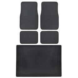 Front And Rear Floor Mats Charcoal Gray Carpet W/ Black Rubber Cargo Mat Liner