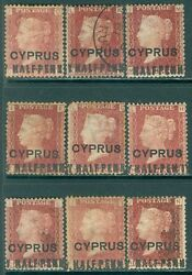Cyprus 1881. Stanley Gibbons 7 Great Specialized Lot Of 9 Stamps W/ Half-penn