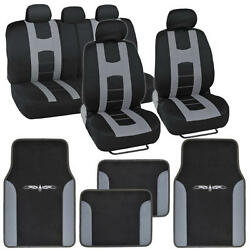 Seat Cover For Car Rome Sport Racing Style Stripes Black/gray With Vinyl Mats