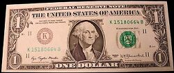 1977 1.00 Federal Reserve Of Texas Error Note Missing The Back Very Nice Unc.