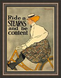 Edward Penfield Ride A Stearns And Be Content Framed Canvas 27x34.5 V17-02