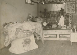 Antique Butcher Shop Pig Cow Mince Meat Cudahy Bacon Goose Chicken Large Photo