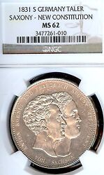 German States Saxony 1831 S Taler Coin Ngc Ms62 Vz/stg Thaler Constitution Unc
