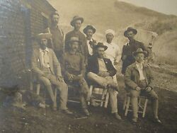 Antique Rare Gold Silver Mining American Miners San Javier Mexico Dog Old Photo