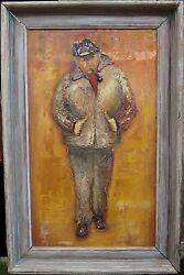 VINTAGE ASHCAN STYLE OIL PAINTING NYC NY HARBOR DOCK WORKER PIPE EXPRESSIONISM
