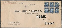 304 On Cover Blk/6 To France From Mayaguez, Porto Rico May 6,1907 Bs9650