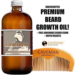 Handcrafted Caveman® BEARD GROWTH OIL BEARD COMB * RAPID RESULTS Bay Rum