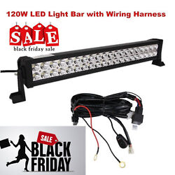 22inch 120w Led Light Bar Combo Beam With Wiring Harness For Jeep Truck 6000k