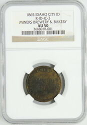 1865 Us Id City Miners Brewery And Bakery 25 Cent Certified Ngc Token Coin Au50 R7