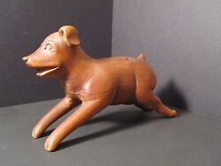 Antique 19th Century Toy Dog Wood Folk Art Carving Upper State Ny Great Patina