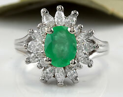 Estate 2.65ct Natural Colombian Emerald And Diamond 14k Solid White Gold Ring