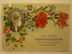 Antique Victorian Photographer's Trade Card New Bedford Ma Whaling City Atlantic