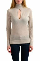 Tom Ford 100 Cashmere Beige Knitted Turtleneck Keyhole Sweater Sz Xs S M L Xl